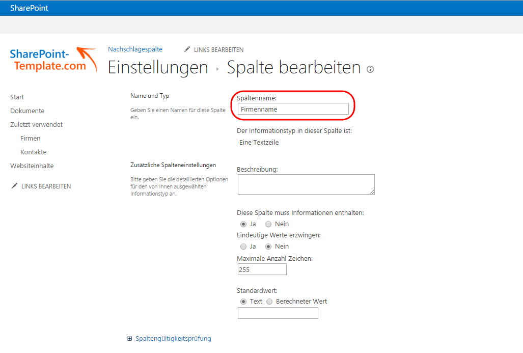 Spalte Firmenname SharePoint