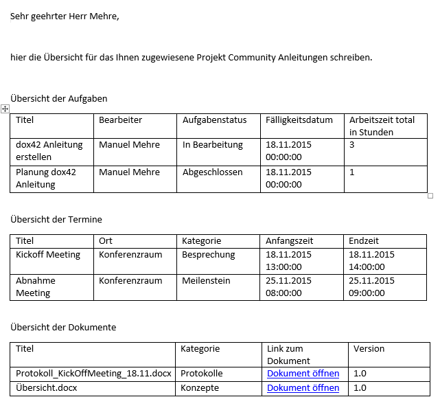 Screenshot Dokument erstellt