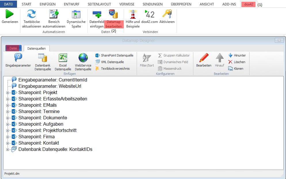 Screenshot dox42 DataMap öffnen