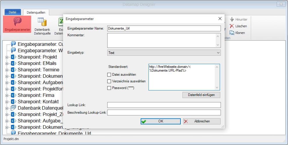 Screenshot Eingabeparameter hinzufügen